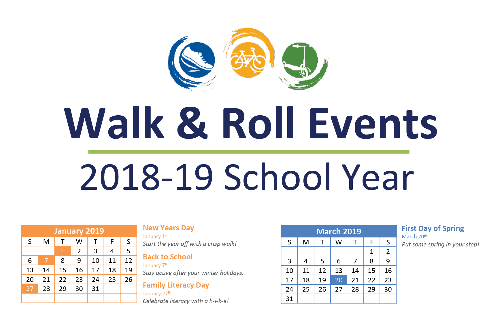 Walk & Roll Events 2018-19