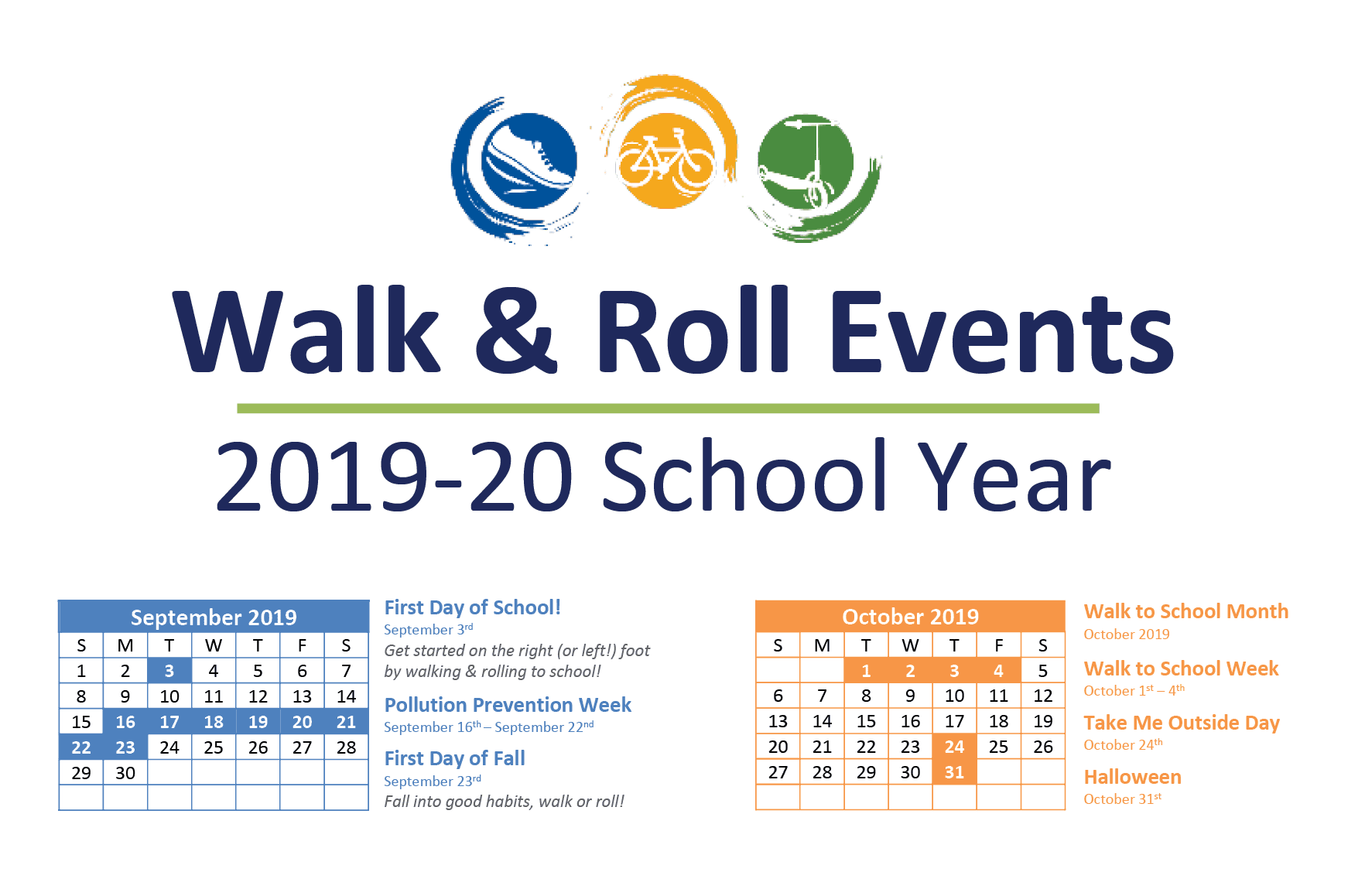 Check out our 2019-20 Walk & Roll Events Calendar!